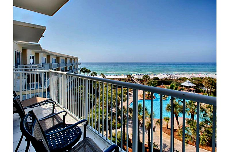 Balcony view of pool at The Crescent in Destin FL