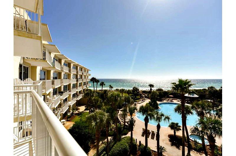Balcony view of beach at The Crescent in Destin FL