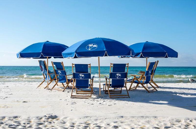 Beach chairs and umbrella at Destin Beach Club in Destin FL