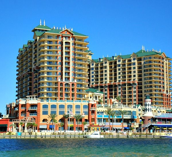waterfront view of Emerald Grande from Destin Harbor