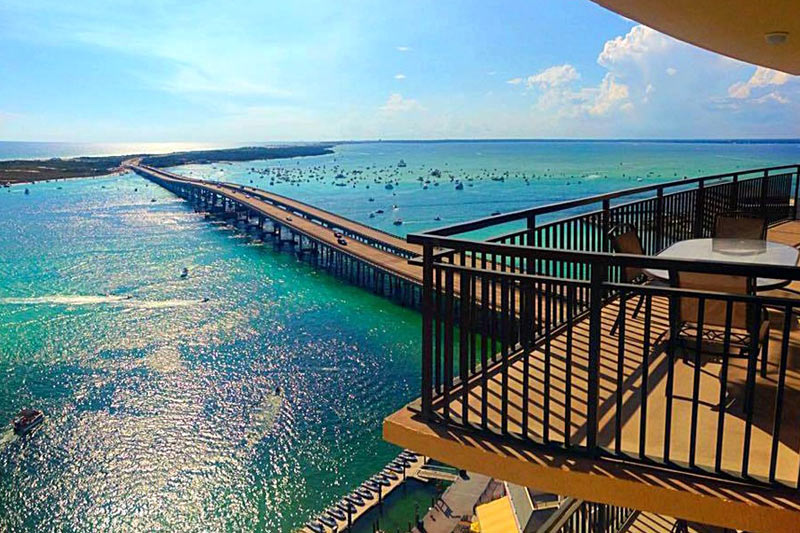 Emerald Grande balcony and view of harbor bridge in Destin FL