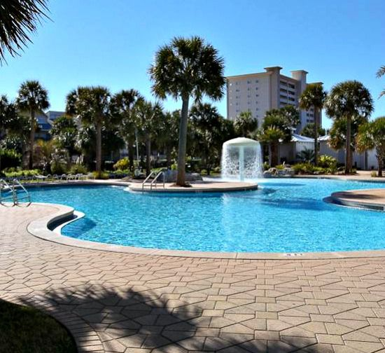 Heated pool at  the Sterling Shores Condominiums  in Destin Florida