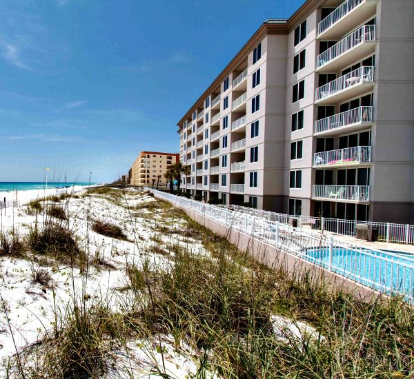 Sea oats and sand dunes outside the Gulf-side swimming pool at Island Princess Fort Walton
