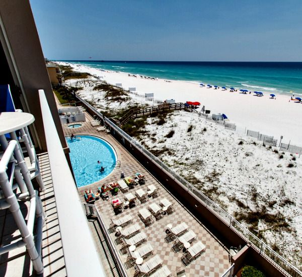 Aerial view of the pool sundeck beach and Gulf at Island Princess Fort Walton