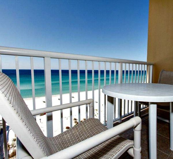 Gulf-front balcony at Waters Edge Condos