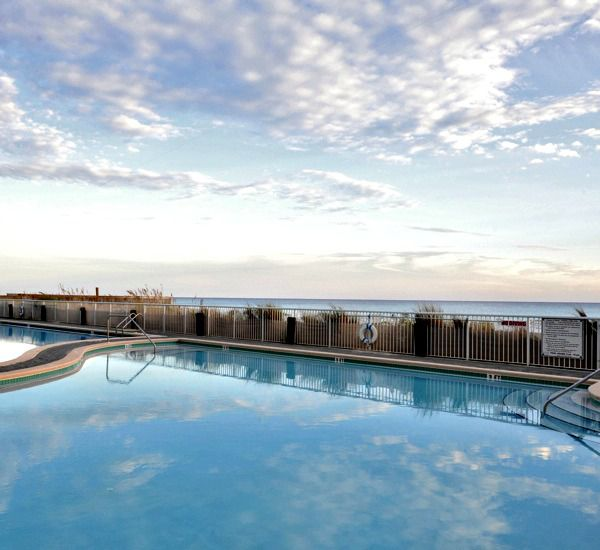 Close-up view of Gulf-front pool at Waters Edge Condos