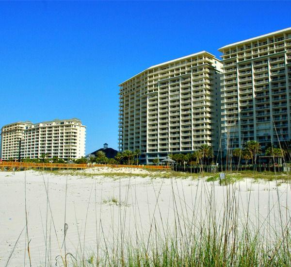 Exterior view from th beach at Beach Club Condominiums in Gulf Shores Alabama