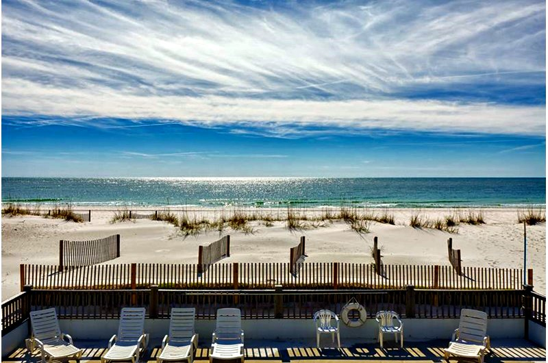Patio view of beach at Blue Parrot in Gulf Shores AL