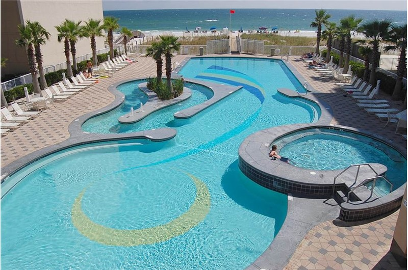 Aerial view of the Lazy River at Crystal Towers Gulf Shores