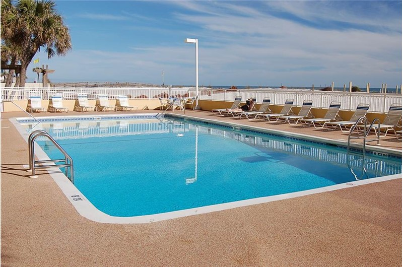 Beachfront outdoor pool at Driftwood Towers Gulf Shores