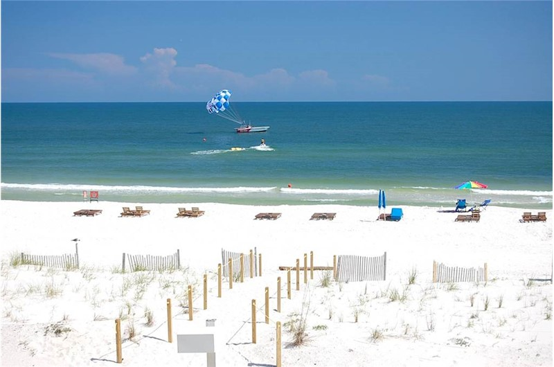 Gorgeous white-sand beach at Driftwood Towers Gulf Shores