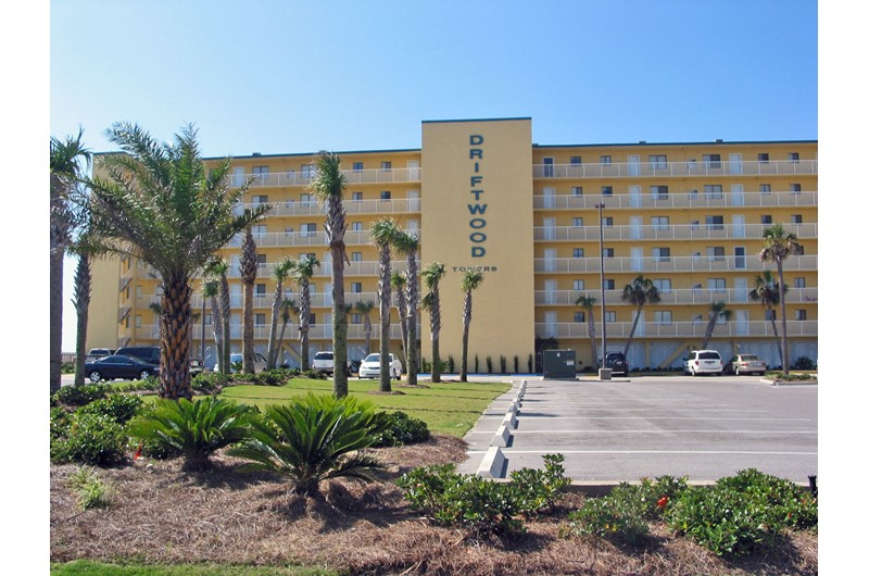 Exterior view from the street at Driftwood Towers Gulf Shores