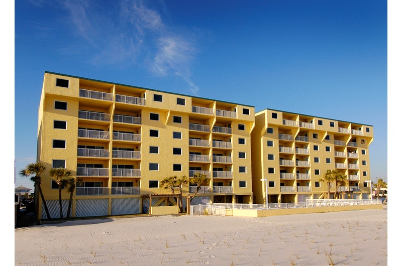 Exterior view from the beach at Driftwood Towers Gulf Shores