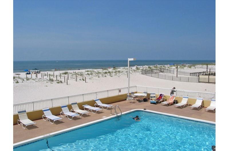 Beautiful beachfront pool at Driftwood Towers Gulf Shores