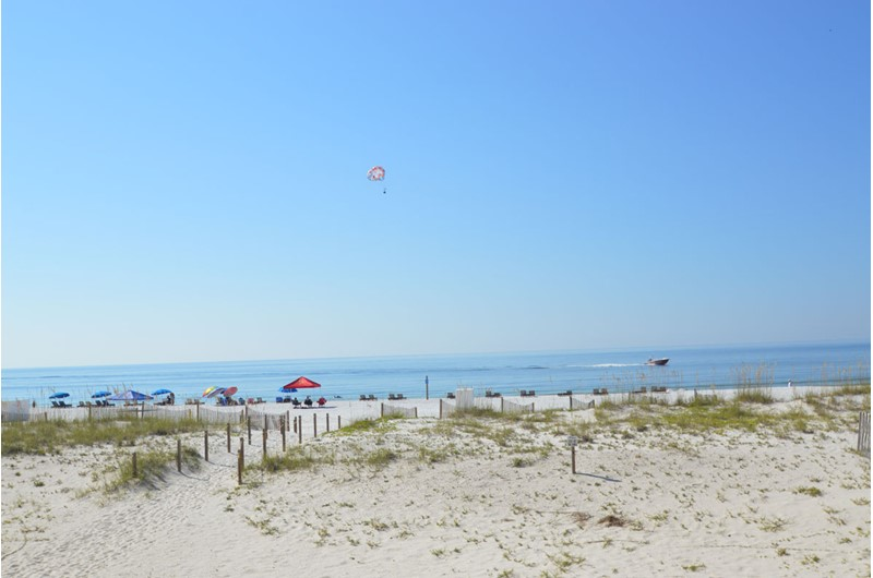 View over the dunes to the beach at Driftwood Towers Gulf Shores