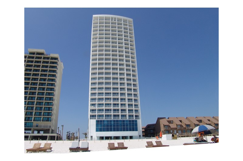 Exterior view from the beach at Island Tower Gulf Shores