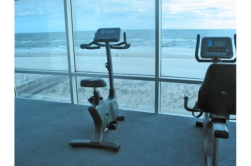 Work out while enjoying views of the Gulf and beach at Island Tower Gulf Shores