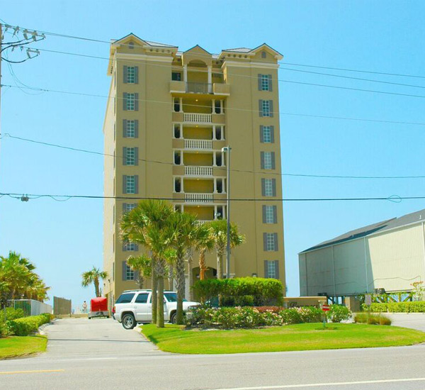 Street view with palm trees and tropical landscaping at Legacy Gulf Shores