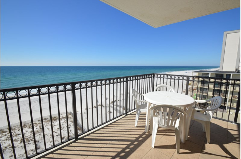 Beachfront balcony view at Legacy Gulf Shores