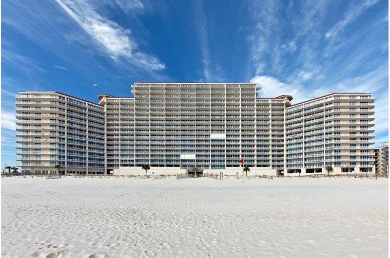 Exterior view from the beach at the Lighthouse Gulf Shores