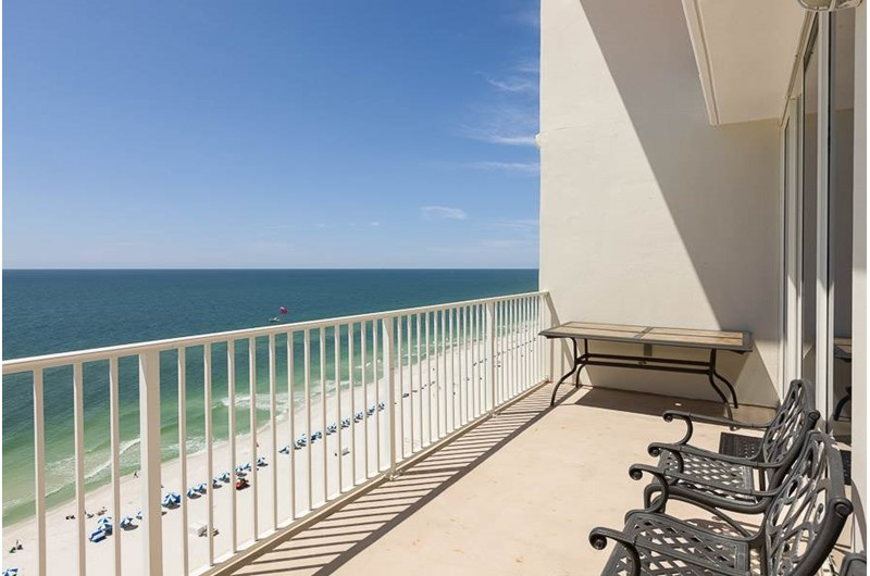 Panoramic views of the beach and Gulf from one of the private balconies at the Lighthouse Gulf Shores