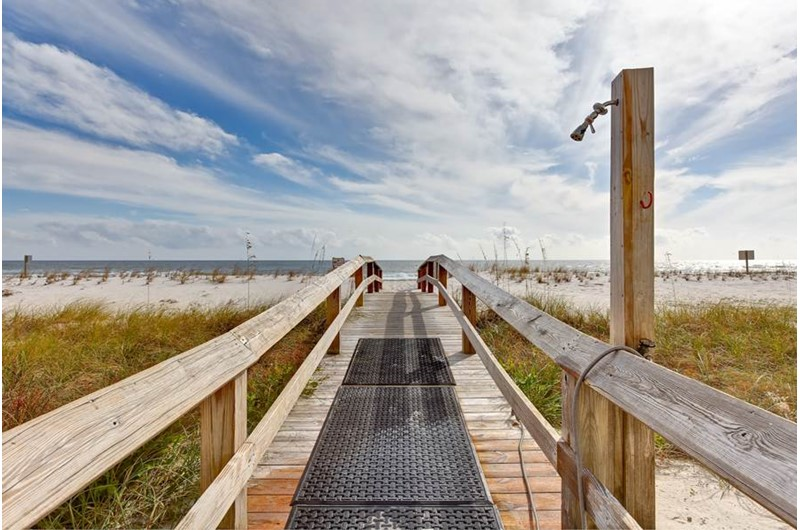 This convenient boardwalk offers easy access to the beach at the Lighthouse Gulf Shores.