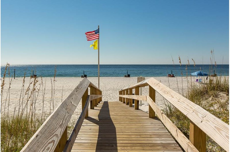Easy walk over to the beach from San Carlos in Gulf Shores Alabama