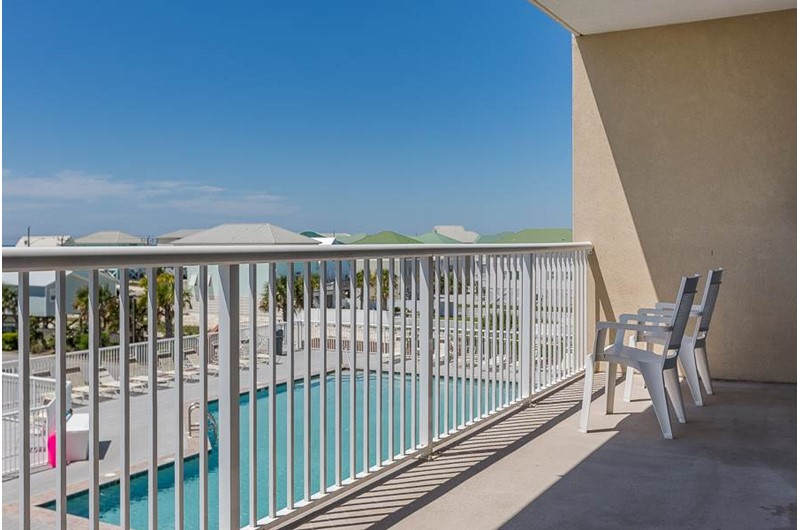 Pool view from balcony at Sanibel in Gulf Shores Alabama