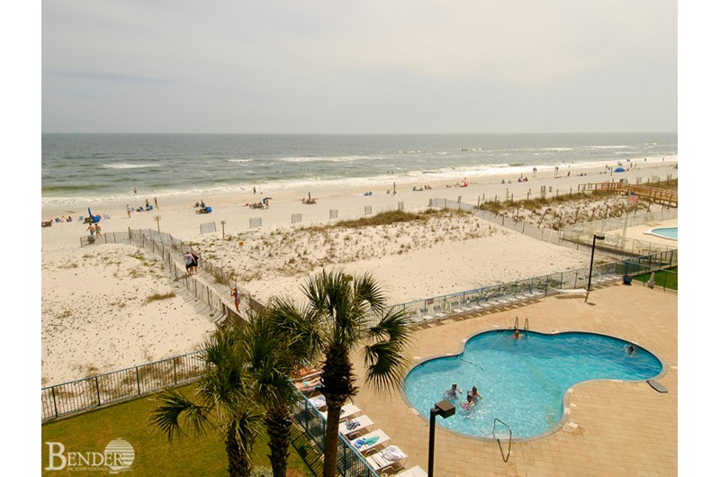 Aerial view of the pool area at Surfside Shores Gulf Shores