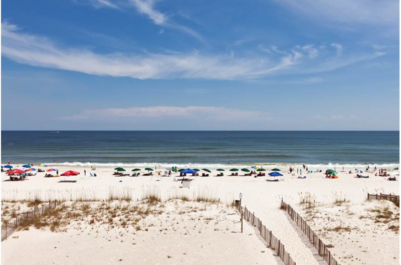 Lovely view of the beach from you balcony at Tropic Isle in Gulf Shores Alabama