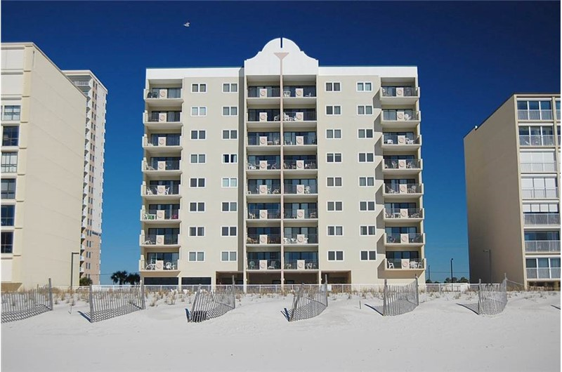 Exterior view from the beach at Tropical Winds Gulf Shores AL