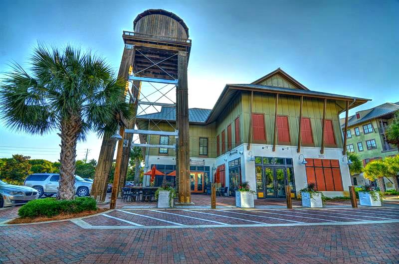Corner restaurant in Redfish Village in Blue Mountain Beach FL