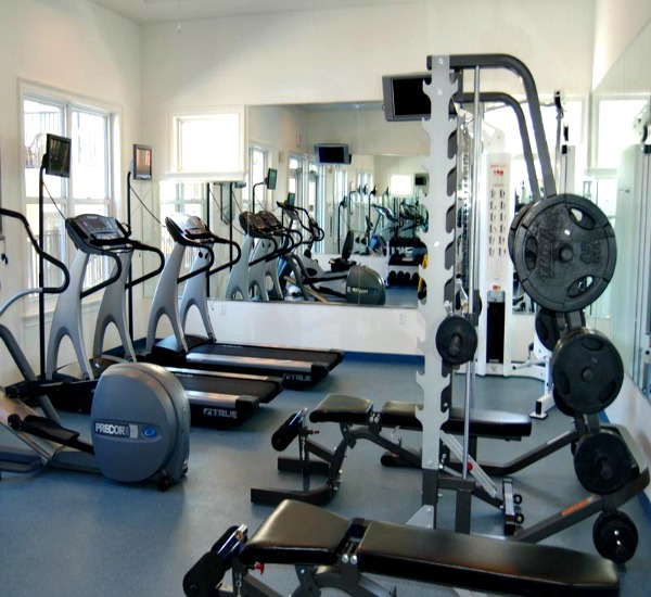 cardio and weights in fitness room at Adagio
