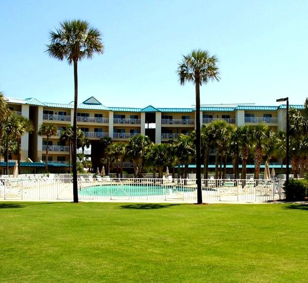 Property view of the grounds and pool at Amalfi Coast Resort  in Destin Florida.