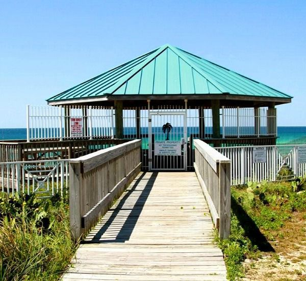 Walkover to the private beach at Amalfi Coast Resort  in Destin Florida.