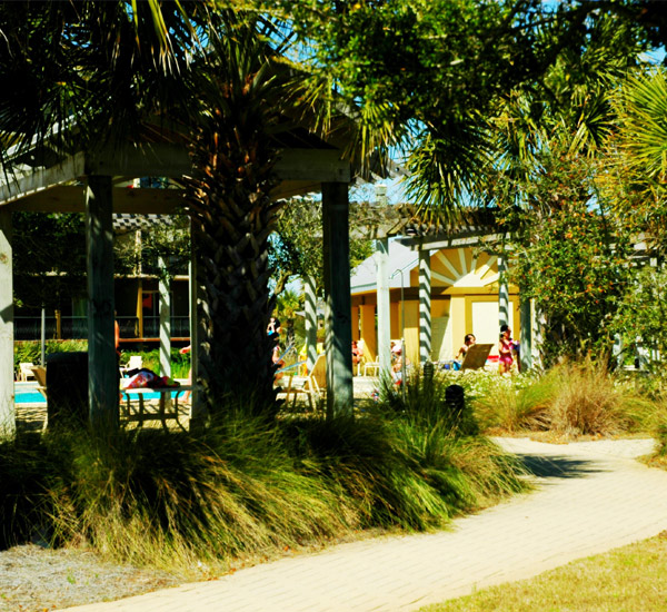 The grounds outside the pool area at Beach Resort in Destin Florida.
