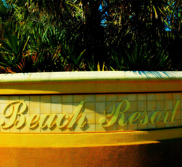The marquee at the entrance of the Beach Resort in Destin Florida