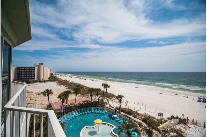 The pool and beach are a gorgeous site from you balcony at Boardwalk Condos in Panama City Beach Florida