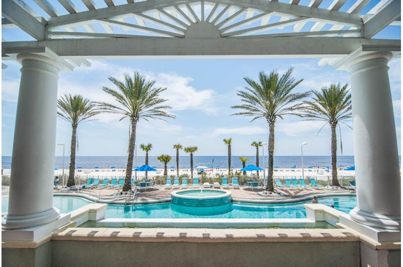 Boardwalk Beach Resort Condo pool deck in Panama City Beach Florida