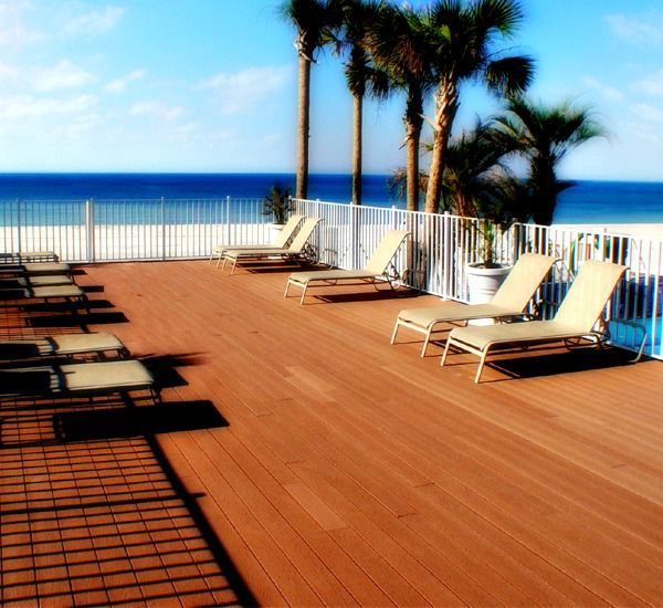 Beautiful beachfront pool deck at Boardwalk Beach Resort Condo in Panama City Beach Florida