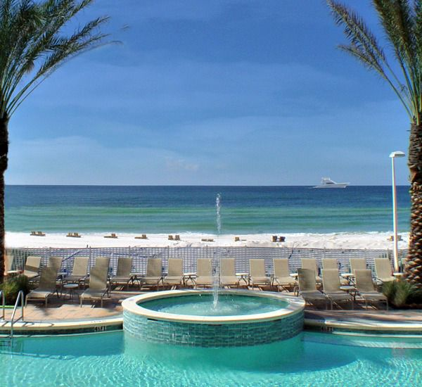 Beachfront pool and hot tub at Boardwalk Beach Resort Condo in Panama City Beach Florida