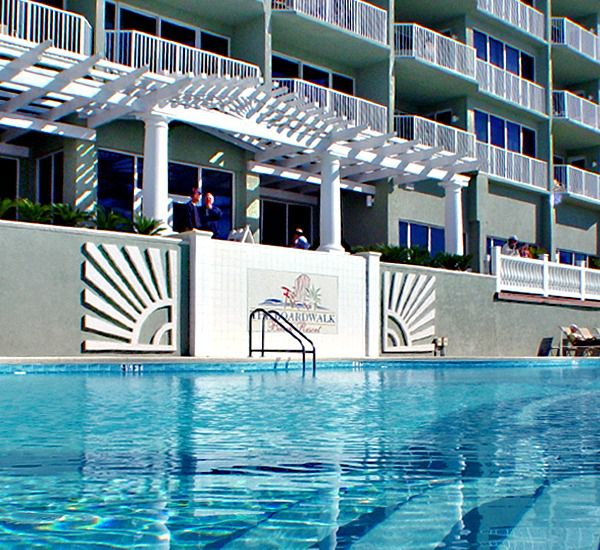 Seasonally heated pool at Boardwalk Beach Resort Condo in Panama City Beach Florida