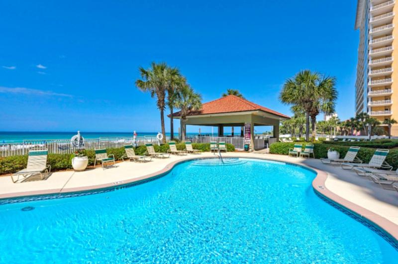 Large pool at Coral Reef Condos in Panama City Beach FL