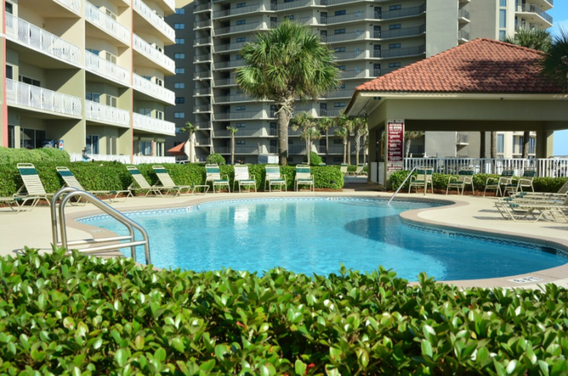 Gorgeous pool area at Coral Reef Condos in Panama City Beach FL