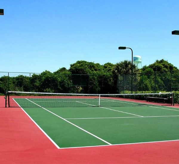 Lighted tennis courts at Amalfi Coast Resort in Destin Florida.