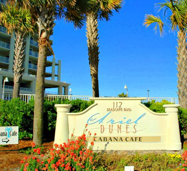 Entrance marquee at the gated community in Ariel Dunes  in Destin Florida.