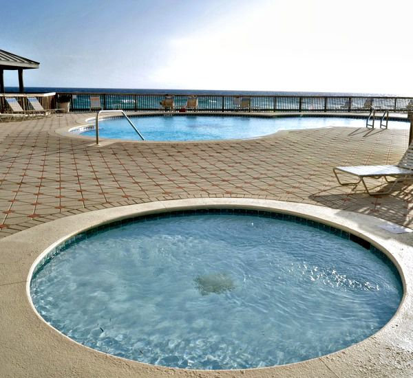 Hot tub by the pool at the Beach House Resort Condominiums in Destin Florida.