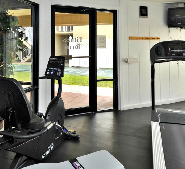 The fitness center at the Beach House Resort Condominiums in Destin Florida.
