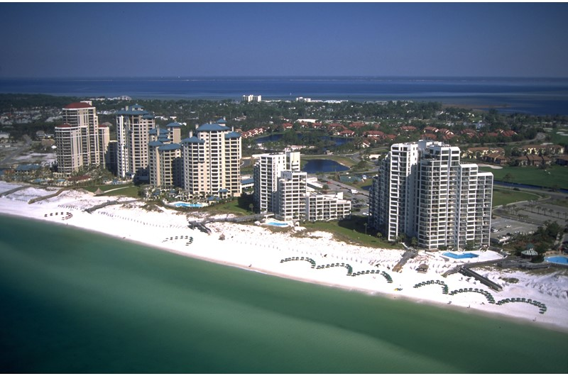 Aerial view of Beachside Towers in Destin FL