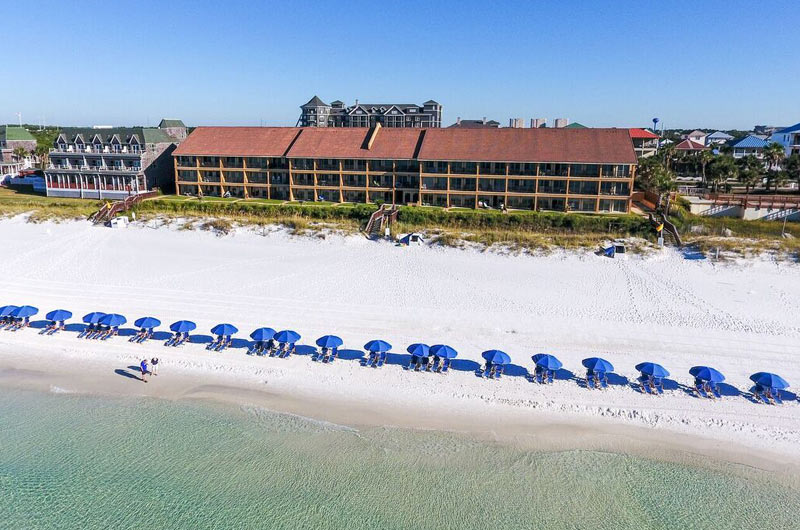 Aerial view of Coral Reef Club in Destin FL